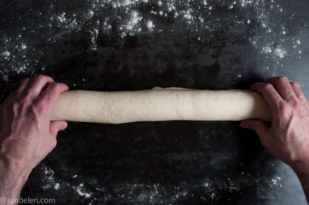 Roll the dough to form a log.
