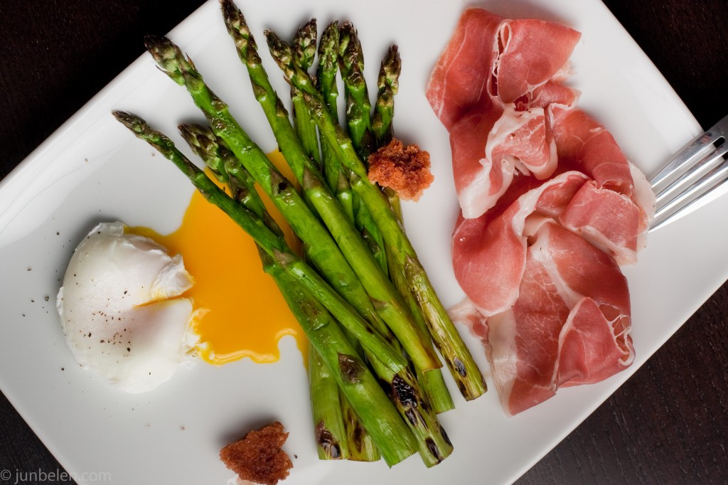 Thomas Keller Grilled Asparagus with Poached Egg and Prosciutto