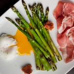 Grilled Asparagus with Prosciutto, Fried Bread, Poached Egg, and Aged ...