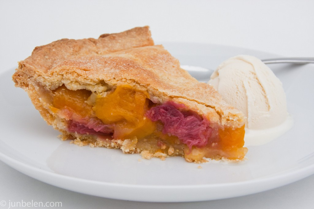 Mango Rhubarb Pie with Cornmeal Crust