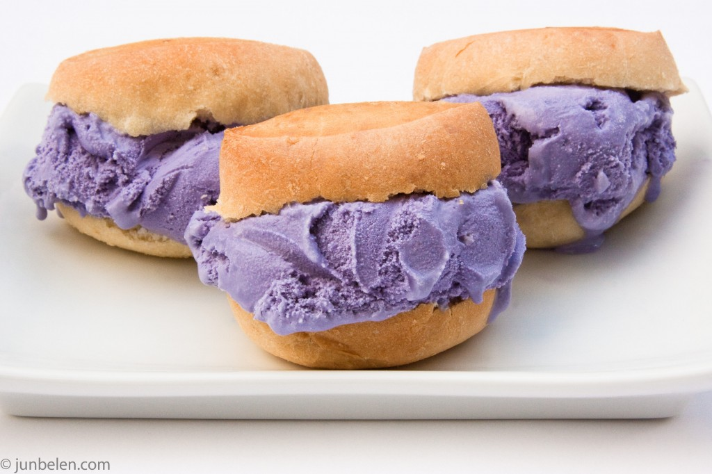 In a matter of a minutes, I made amazing ube ice cream sandwiches.