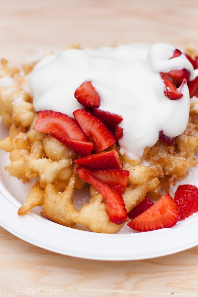 Funnel Cake with Cream and Strawberries by Endless Summer Sweets