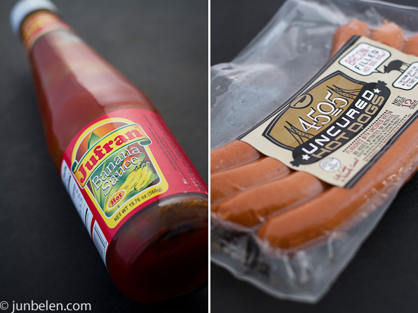 Spaghetti Sauce with Banana Ketchup and Hotdogs